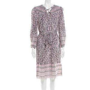 Rebecca Taylor Silk Shift Print Midi Dress Sz 6